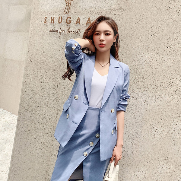 Autumn Women Skirt Suits Double-breasted Blazer Jacket & Side Split Skirt Female Blazer Set 2 Pieces Set 2019 Women Blazer Suit