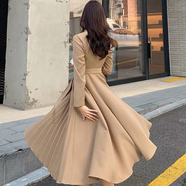 BGTEEVER Vintage V-neck Belted Women Dresses Slim Waist Office Ladies Pleated Dress Female A-line Vestidos Femme 2019 Autumn