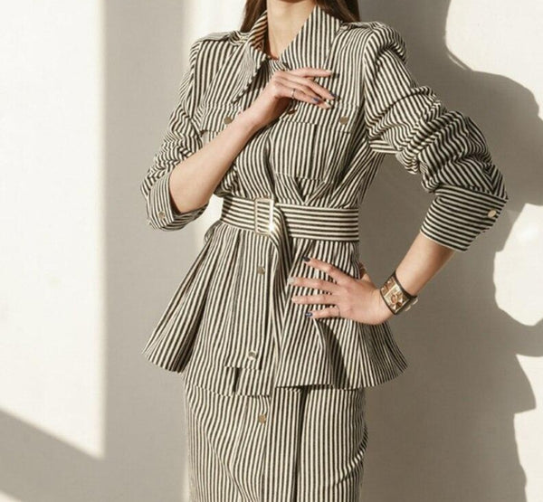 BGTEEVER Fashion Striped Female 2 Pieces Set Single-breasted Belted Blazer & High Waist Split Skinny Skirt 2020 Women Skirt Suit