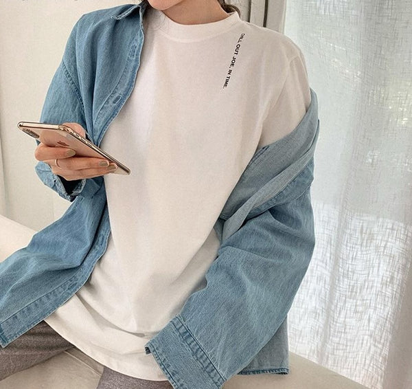 BGTEEVER Chic Loose Letter Print Women T-shirt 2020 Summer Short Sleeve Loose Cotton Female Basic Tops Shirt Ladies White Tees
