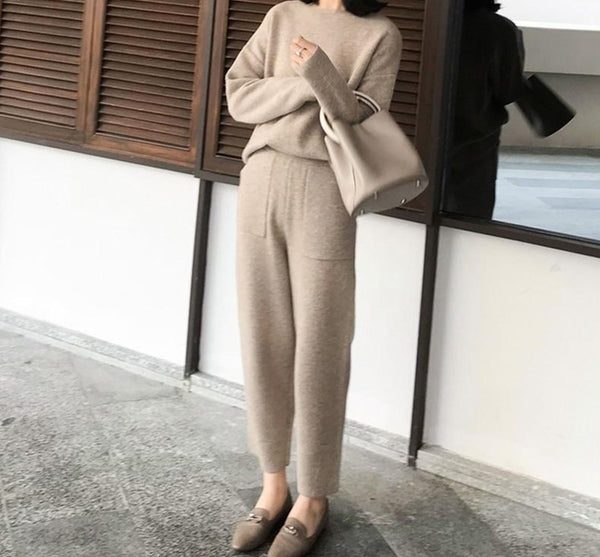 BGTEEVER 2020 Winter Casual Sweater Tracksuits O-neck Long Sleeve Jumpers & Elastic Waist Pants Female Knitted 2 Pieces Set
