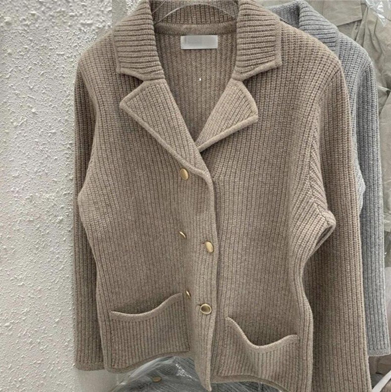 Notched-Collar Cardigan