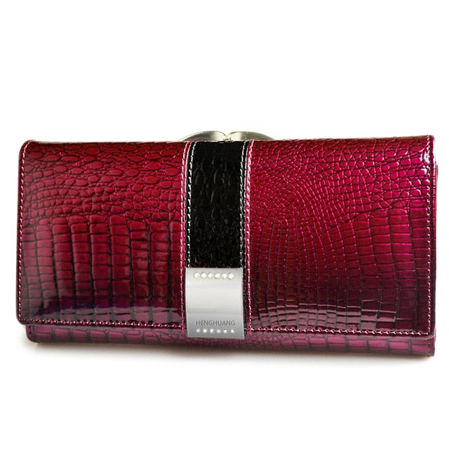 HH Luxury Genuine Leather Womens Wallets Patent Alligator Bag Female Design Clutch Long Multifunctional Coin Card Holder Purses - rsero