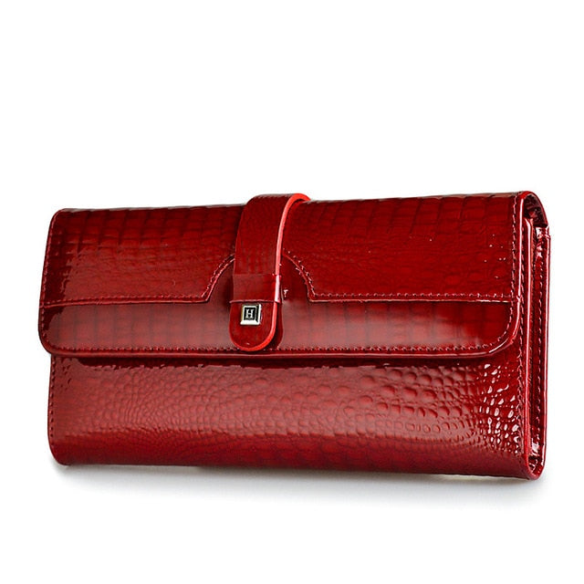 HH Women Long Wallet Genuine Leather Wallets Red Aligator Pattern Cowhide Purse Three Fold Large Capacity Clutch Wallet Luxury - rsero
