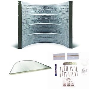 "64.5"" Stonewell Window Well - Granite w/ Clear Cover and Installation Kit"