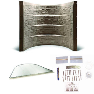 "64.5"" Stonewell Window Well - Sandstone w/ Clear Cover and Installation Kit"