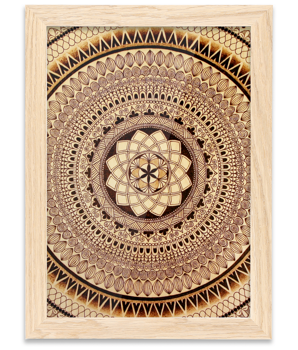 Oak Frame A4 Fine Art Print - Earth Mandala - Rebecca Leah Designs
