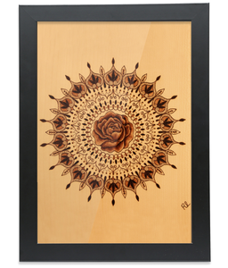 Black Oak Frame A4 Fine Art Bamboo Print - Encouraging Mandala