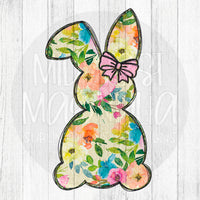 Floral Bunny with Pink Bow - Sublimation Transfer