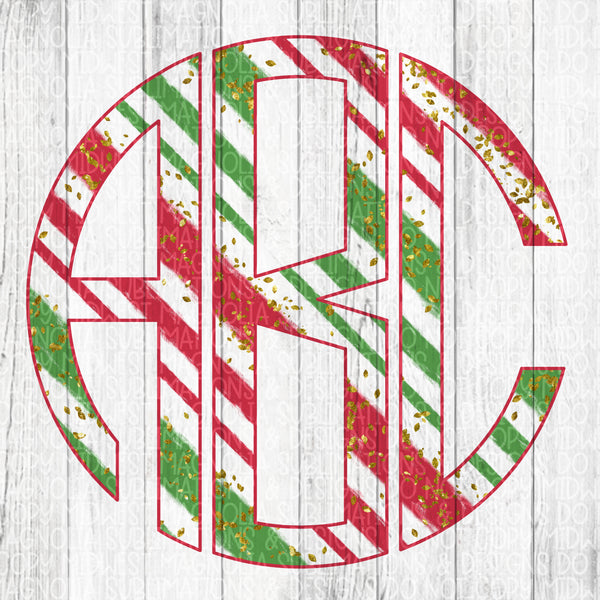Christmas Stripe Monogram Set - Digital