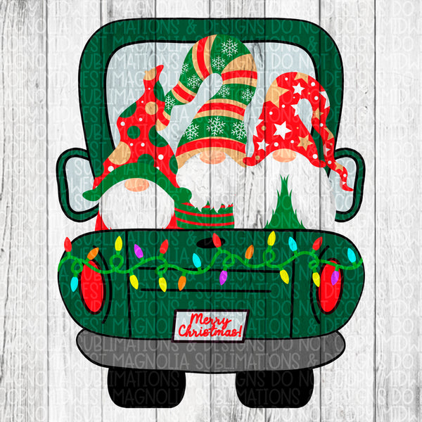 Green Christmas Truck with Gnomes- Sublimation Transfer