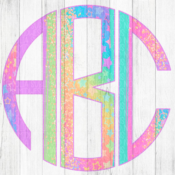 Holographic Rainbow Brushstroke Monogram Set - Digital