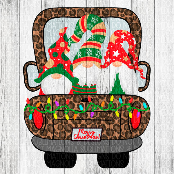 Leopard Christmas Truck with Gnomes - Sublimation Transfer