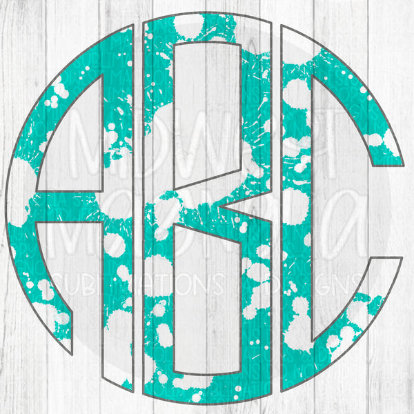 Teal Bleach Splatter Monogram Set - Digital