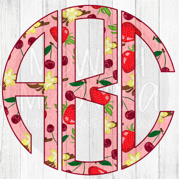 Strawberries & Cherries Monogram Set - Digital