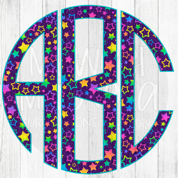 Neon Rainbow Stars Monogram - Sublimation Transfer - PLEASE READ DESCRIPTION BEFORE PURCHASING!