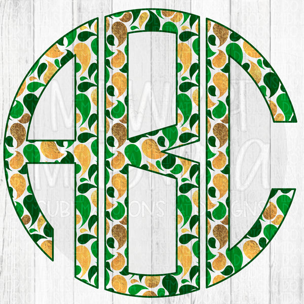 Green & Gold Monogram Set - Digital