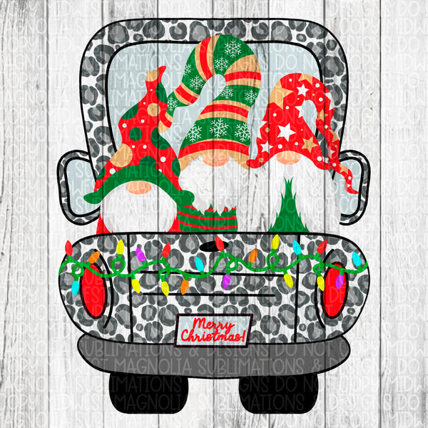 Snow Leopard Christmas Truck with Gnomes - Sublimation Transfer