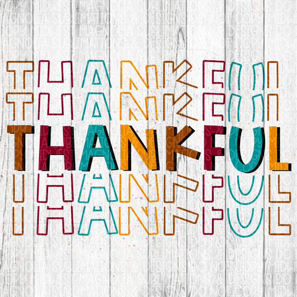 Thankful Stacked Watercolor - Sublimation Transfer