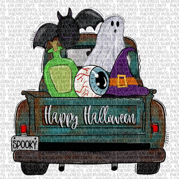 Halloween Truck - Happy Halloween - Sublimation Transfer - Midwest Magnolia Sublimations & Designs