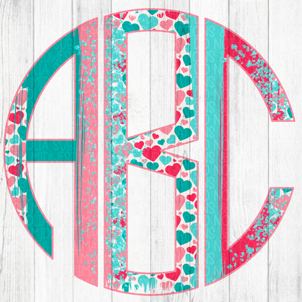 Valentine's Day Brushstroke Monogram Set 1 - Digital