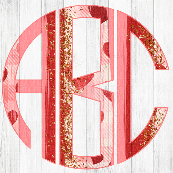 Valentine's Day Brushstroke Monogram Set 2 - Digital