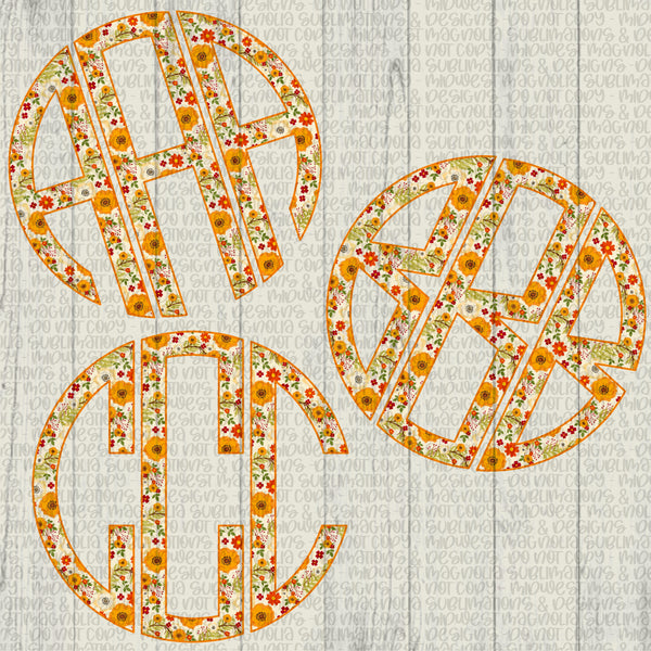 Fall Floral Monogram Set - Digital