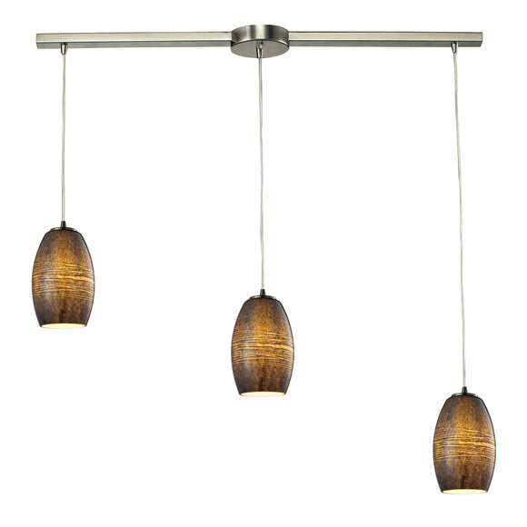 Andover 3 Light Pendant In Satin Nickel And Textured Multicolor Glass