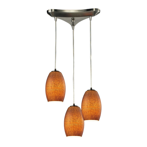 Andover 3 Light Pendant In Satin Nickel And Textured Brown Glass