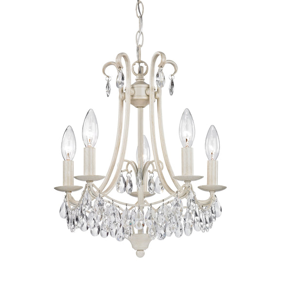 5 Light Mini Chandelier In Antique Cream And Clear