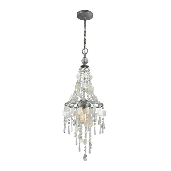 Alexandra 1 Light Chandelier In Weathered Zinc With Capiz Shells And Clear Crystal