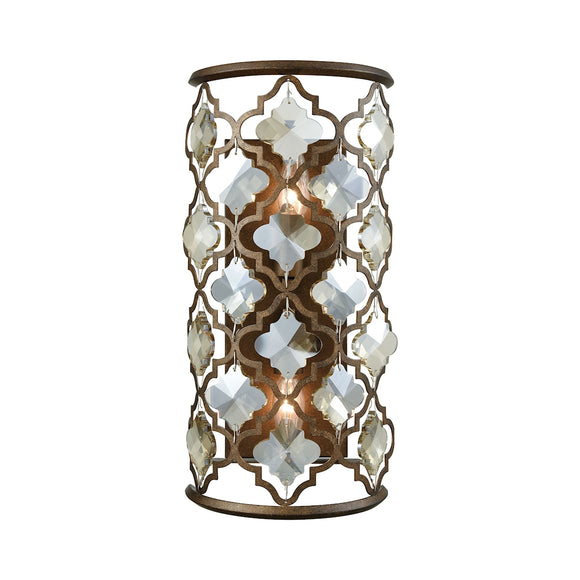 Armand 2 Light Wall Sconce In Weathered Bronze With Champagne Plated Crystal