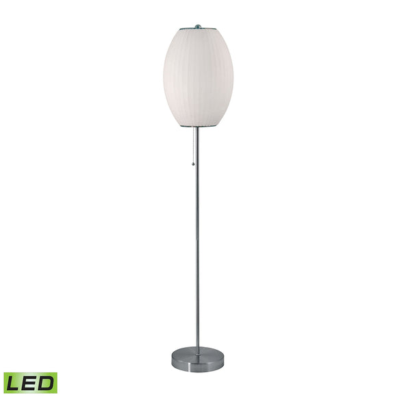 Cigar LED Floor Lamp In Satin Nickel And White