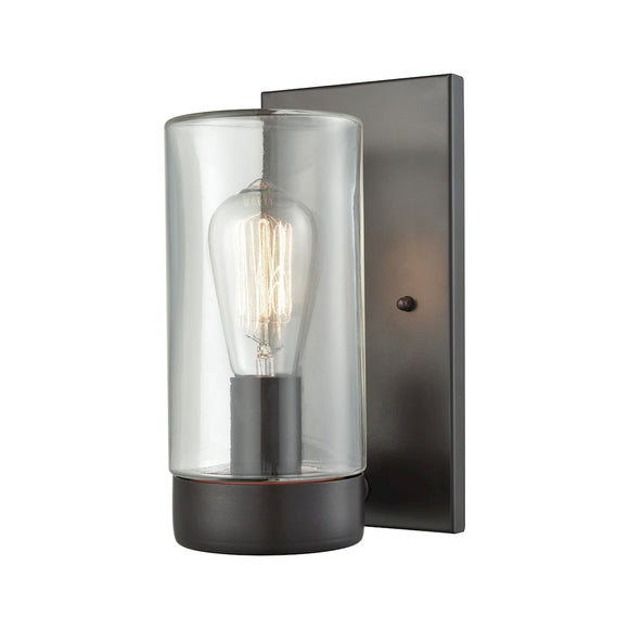 Ambler 1 Light Outdoor Wall Sconce In Oil Rubbed Bronze With Clear Glass