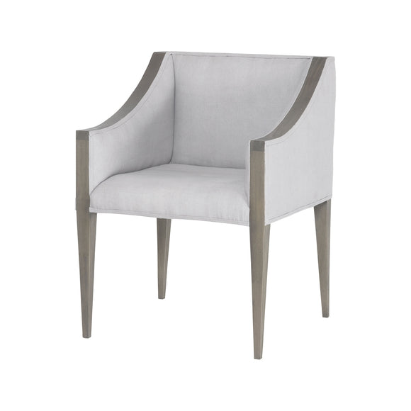 Ashley Side Chair In Waterfront Grey Stain With Morning Mist Linen Upholestery