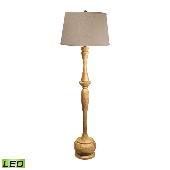 Distressed Acacia Wood LED Floor Lamp