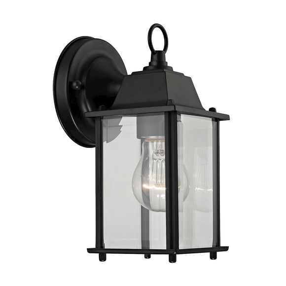 1 Light Outdoor Wall Sconce In Matte Black And Clear Glass