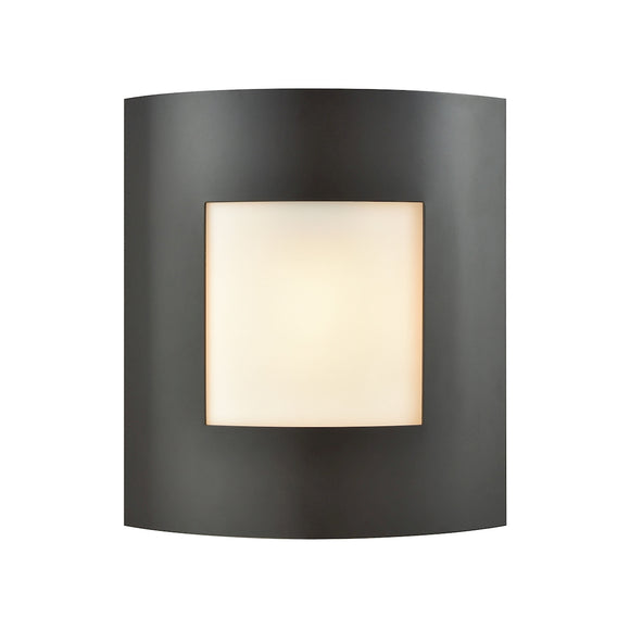 Bella 1 Light Outdoor Wall Sconce In Oil Rubbed Bronze With White Glass