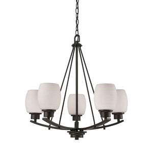 Casual Mission 5 Light Chandelier In Oil Rubbed Bronze With White Lined Glass