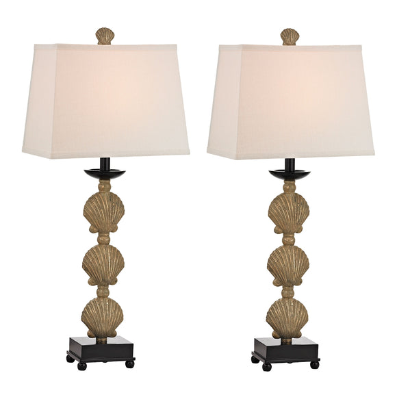 2 PACk SHELL TABLE LAMP IN DISTRESSED GOLD FINISH