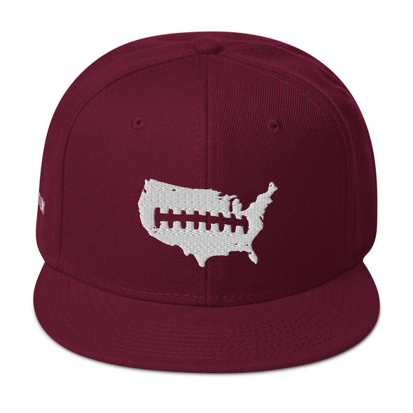 U.S.A. Laces Out Football Snapback Hat