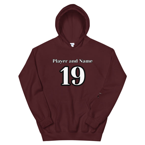 Custom Football Player Hoodie; Create Your Own; Add Player Name & Number; Maroon