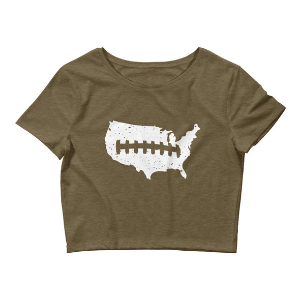 U.S. Laces Out Women's Crop Top Football Tee