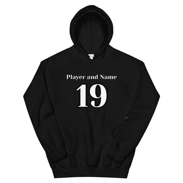 Custom Football Player Hoodie; Create Your Own; Add Player Name & Number; Black