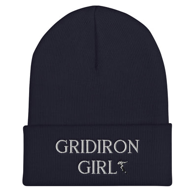 Gridiron Girl Cuffed Football Beanie