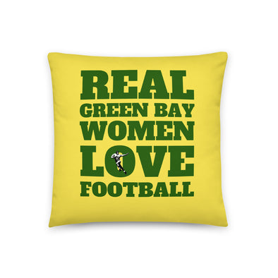 Green Bay Real Women Love Football Throw Pillow