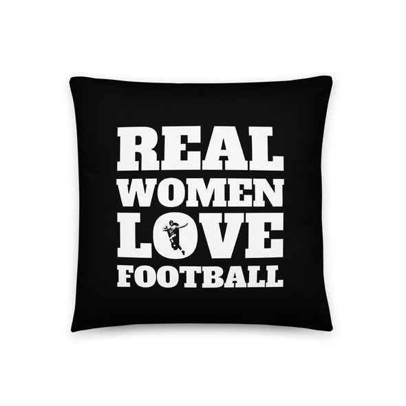 Real Women Love Football Black Throw Pillow