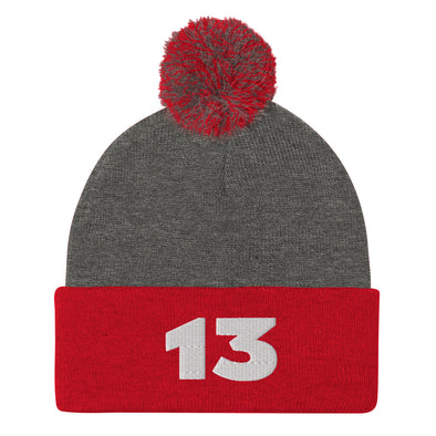 Customized Football Jersey Number Embroidered Pom-Pom Beanie