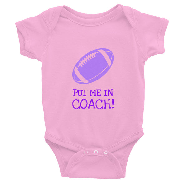 Put Me In Coach Football Baby Onesie