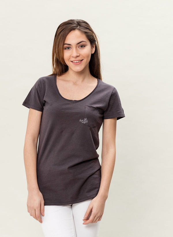 Damen V-neck Bio T-Shirt mit Brusttasche